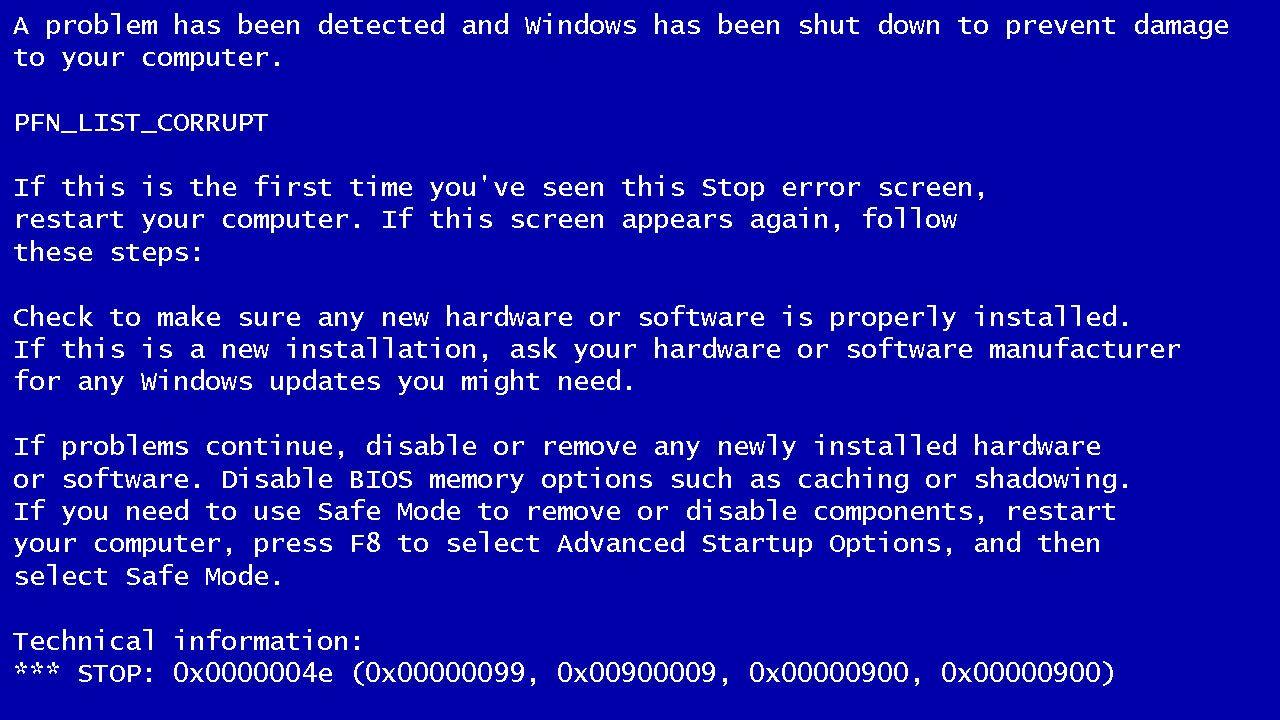 Windows蓝屏代码大全